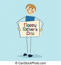 boy best wishes - boy with a cartel of happy fathers day