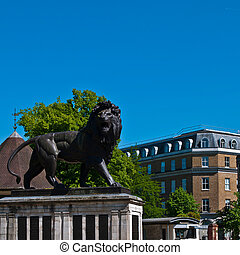 The Maiwand Lion at Forbury Gardens in Reading, England...