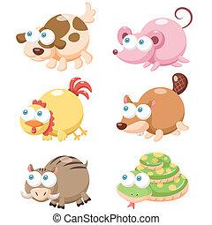 cute animal set - illustration of cute cartoon animal set.