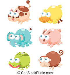 cute animal set - illustration of cute cartoon animal set