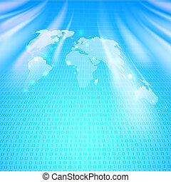 Abstract binary code background with world map. Illustration...
