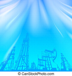 Oil rig and oil pump over blue luminous ray.  Illustration