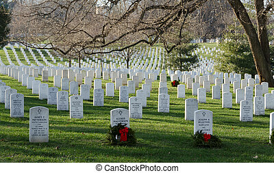 Arlington Cemetary - White marble tombstones at Arlington...