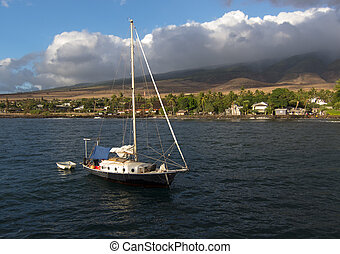 Maui Sailboat - Sailboat off of the coast of Maui