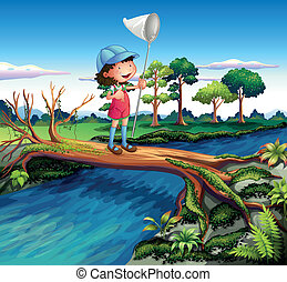A girl holding a butterfly net crossing the river -...
