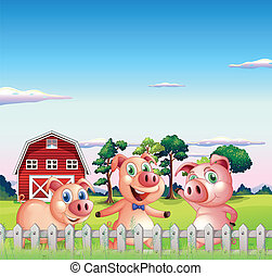 Three pigs dancing inside the fence - Illustration of the...