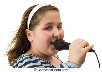 Closeup Child Singing - Closeup view of a young girl singing...