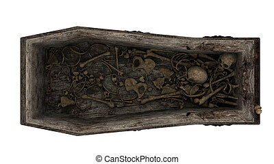 skeleton and coffin