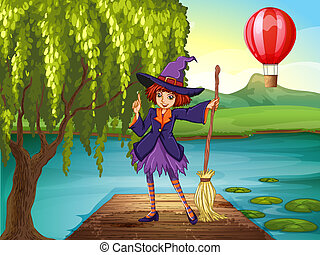 A witch holding a broom standing at the port - Illustration...