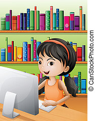 A young girl using the computer at the library