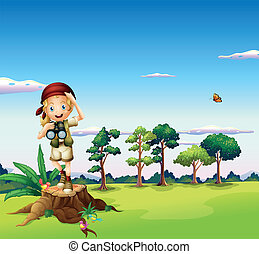 A girl with a telescope standing above a stump -...