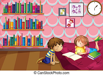 A girl and a boy reading inside a room - Illustration of a...