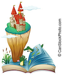 An open book with an image of a castle in an island -...