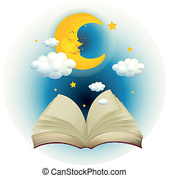 An empty open book with a sleeping moon - Illustration of an...