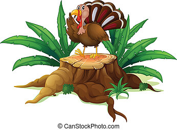A turkey standing on a stump with leaves