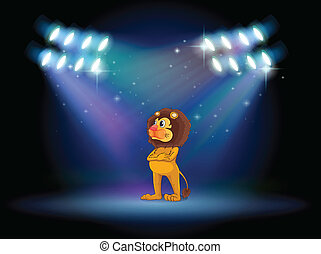 A lion standing in the middle of the stage - Illustration of...