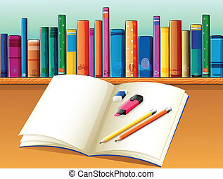 An empty open book in front of a shelf full of books -...