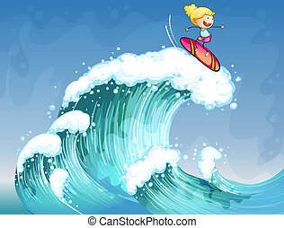 A girl surfing - Illustration of a girl surfing