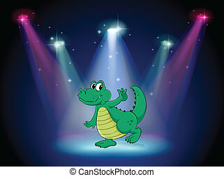 A crocodile dancing in the middle of the stage