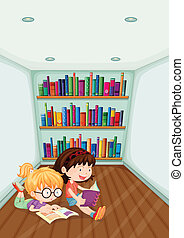 Two girls reading inside the room - Illustration of the two...
