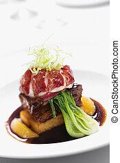 Gourmet meal still life.