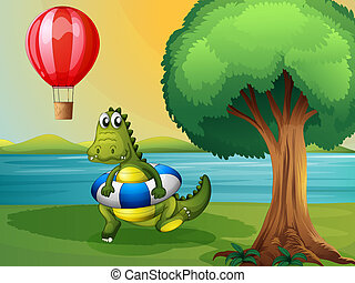 A crocodile inside the buoy along the river - Illustration...