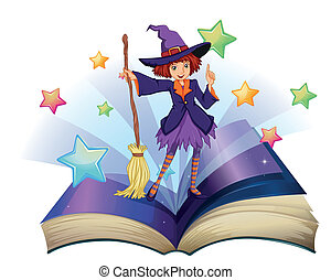 An open book with an image of a witch holding a broom