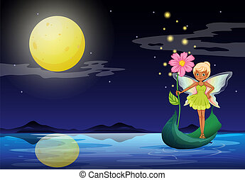 A fairy holding a flower above a boat - Illustration of a...