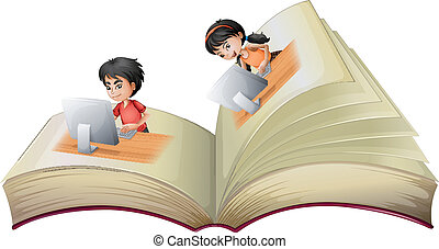 An open book with a girl and a boy with computers -...