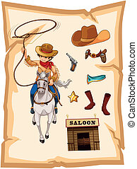 A paper with a drawing of a cowboy and a saloon bar -...