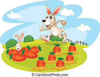 A bunny running along the garden with carrots - Illustration...