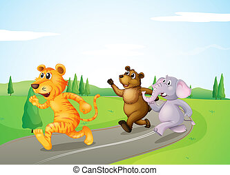 A tiger, a bear and an elephant running along the road -...