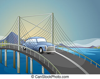 A car on the road - Illustration of a car on the road