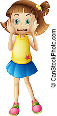 A young girl with a stress face - Illustration of a young...
