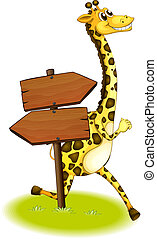 A giraffe running at the back of a wooden arrow board -...
