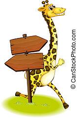 A giraffe running at the back of a wooden arrow board