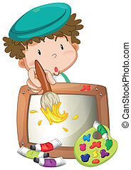 A little boy painting - Illustration of a little boy...