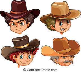 Different faces of four cowboys - Illustration of the...