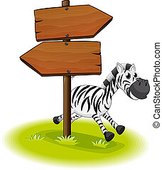 A zebra at the back of a wooden arrow board