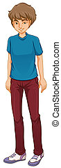 A tall boy standing - Illustration of a tall boy standing on...
