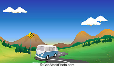A curve road with a bus