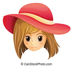 A girl wearing a red hat - Illustration of a girl wearing a...