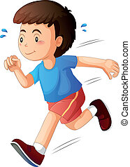 A kid running - Illustration of a kid running on a white...