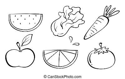 Doodle sets of fruits