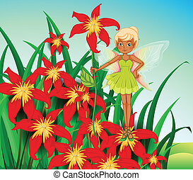 A fairy standing above a red flower - Illustration of a...