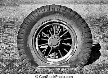 Sunken Military Tire in Black and White