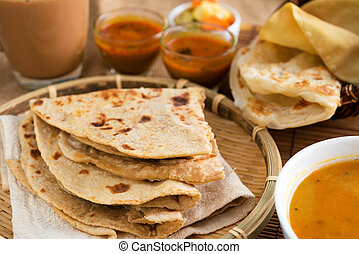 Indian cuisine - Indian food, Chapati flatbread, roti canai,...