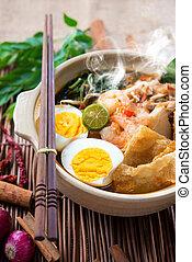 Prawn noodles - Prawn mee, prawn noodles. Famous Malaysian...