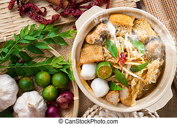 Curry mee - Hot and spicy Singaporean Curry Noodle or laksa...