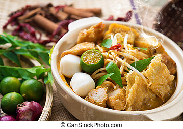 Curry Noodle - Hot and spicy Malaysia Curry Noodle or laksa...